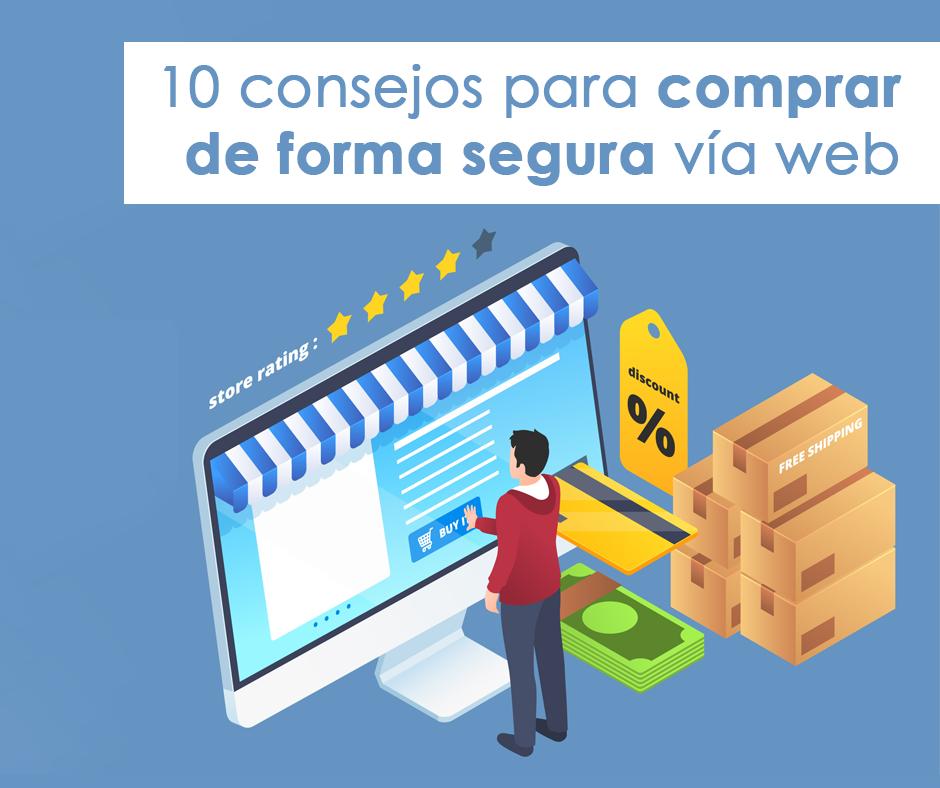 Ilustración de hombre frente a pantalla sobre cómo comprar de forma segura por internet