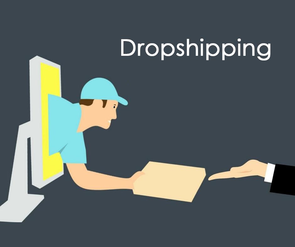 Ilustración de vendedor entregando paquete a través de la pantalla para explicar qué es el dropshipping