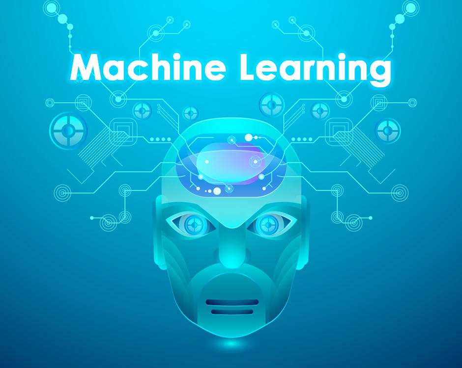 Cara de robot con conexiones a diferentes objetos para representar el machine learning